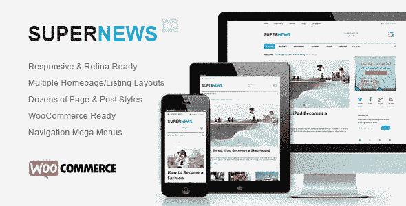 قالب مجله خبری سوپر نیوز همراه فروشگاه WooCommerce وردپرس