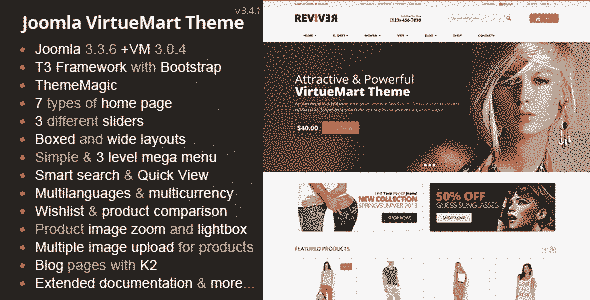 قالب مولتی فروشگاه حرفه ای همراه اسلایدر Reviver جوملا