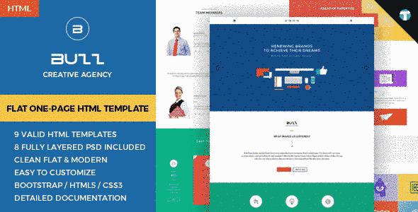 قالب فلت یک صفحه ای سایت شرکتی شخصی باز ریسپانسیو HTML