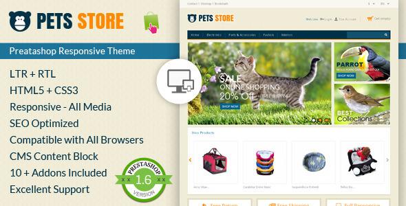 قالب فروشگاه حیوانات واکنش پذیر  eCommerce