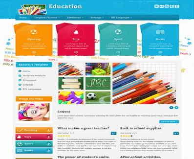 قالب سایت آموزش ابتدایی جوملا RTL ابزار مدرسه
