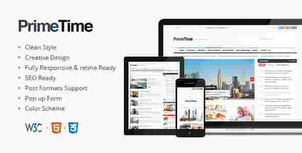 قالب سایت مجله وبلاگ نویسی پریم تایم html
