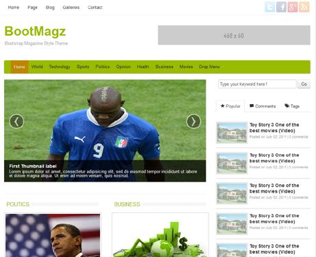 قالب مجله وبلاگ نویسی بوت مگز html