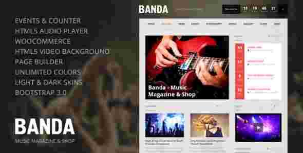 قالب مجله وبلاگ نویسی موزیک آهنگ باندا html