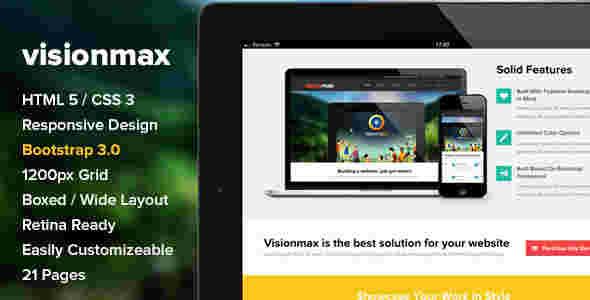 قالب شخصی تجاری وبلاگ نویسی ویژون مکس html