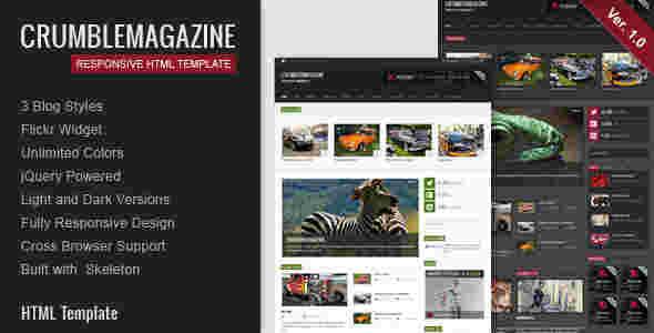 قالب مجله وبلاگ نویسی مشکی کرومبله html