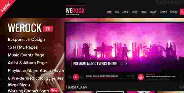قالب سایت موزیک آهنگ html وی راک