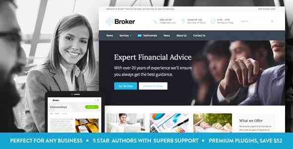 قالب کارگزار کسب کار مشاور مالی وردپرس RTL بروکر
