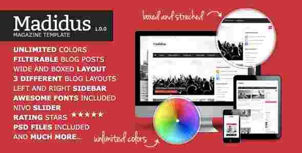 قالب مجله وبلاگ نویسی مادیدوس html