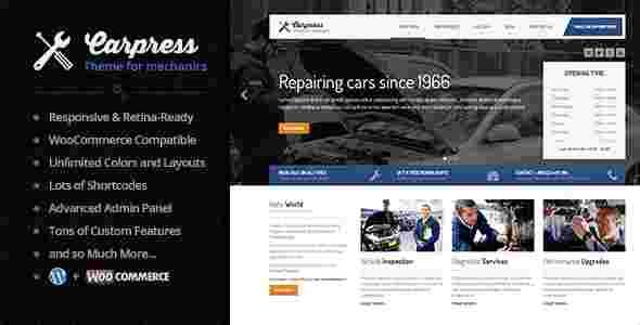قالب سایت خدمات تعمیرات خودرو ماشین کارپرس وردپرس