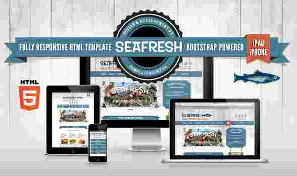 قالب تجاری وبلاگ نویسی ماهی فروش سی فرش html