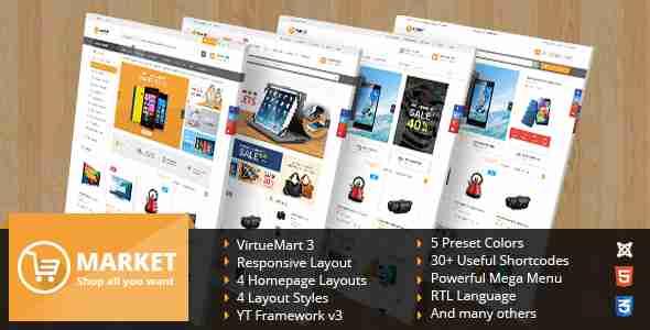 قالب سایت فروشگاه جوملا اس جی مارکت
