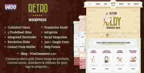 قالب گرافیکی شرکتی فروشگاهی ریترو وردپرس