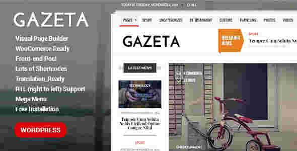 قالب حرفه ای مجله وبلاگ نویسی 2015 RTL گازیتا وردپرس