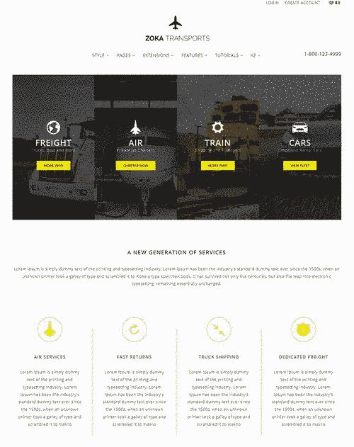 قالب سایت خدمات حمل نقل ریسپانسیو RTL جوملا 2.5 تا 3