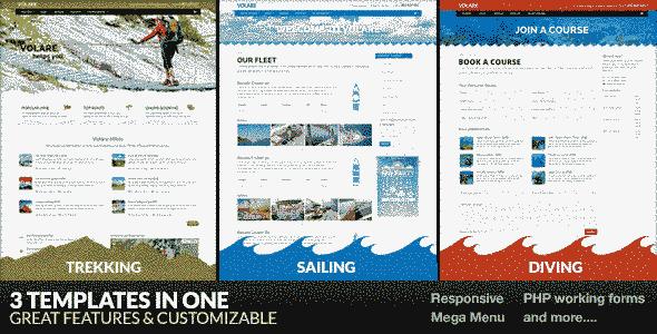 قالب سایت ورزشی کوه پیمایی، قایقرانی، غواصی html