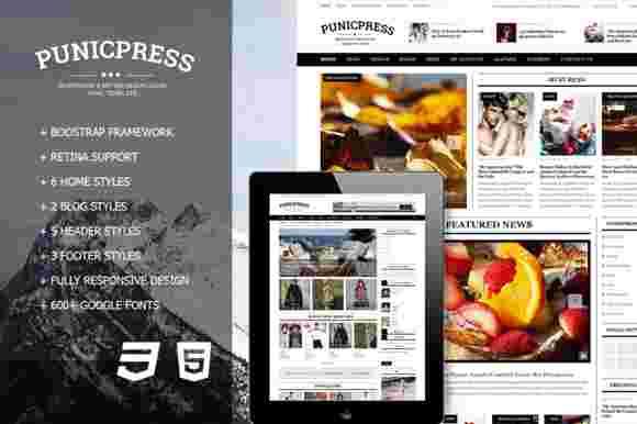 قالب حرفه ای مجله خبری پونیک پرس html