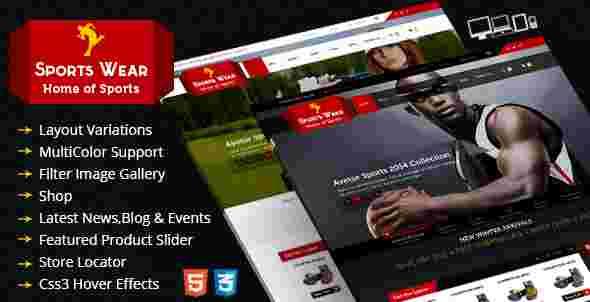قالب سایت فروشگاه لوازم ورزشی Ecommerce html