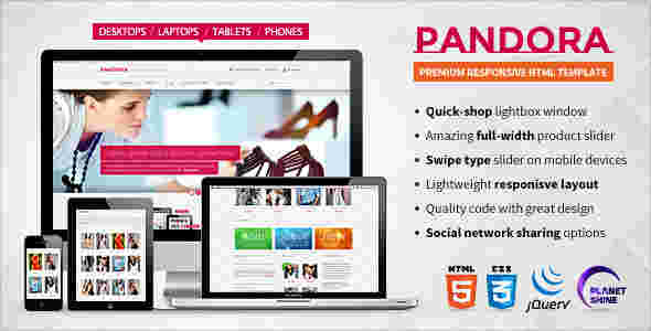 قالب فروشگاهی همراه وبلاگ نویسی پاندورا html