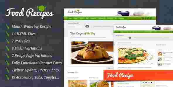 قالب سایت وبلاگ نویسی آشپزی فود ریسپیز html