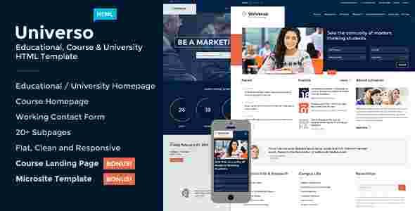 قالب سایت موسسه آموزشی دانشگاهی یونیورسو html