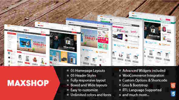 قالب چند منظوره فروشگاهی مکس شاپ RTL وردپرس