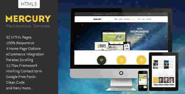 قالب مولتی سایت شرکتی وبلاگ نویسی مرکوری html