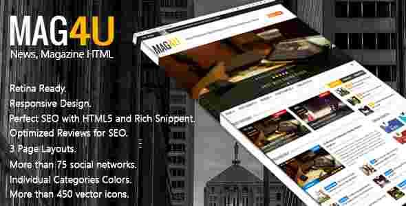 قالب مجله وبلاگ نویسی مگ یو html