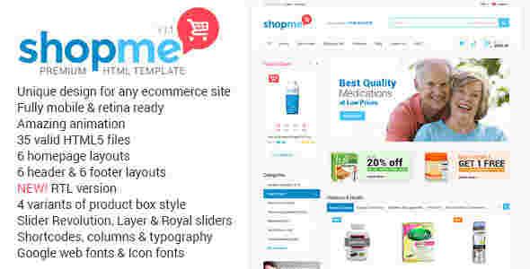 قالب فروشگاه محصولات دارویی بهداشتی شاپ می html