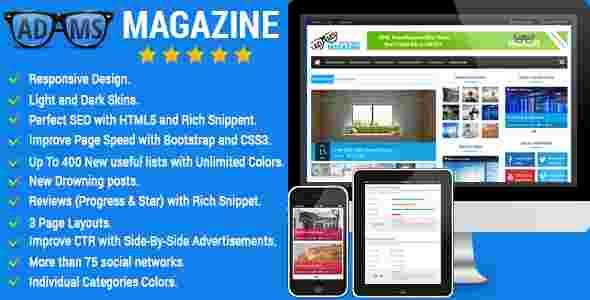 قالب مجله خبری وبلاگ نویسی آدامز html