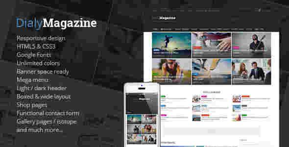 قالب فلت مجله خبری وبلاگ نویسی دیلی مگزین html