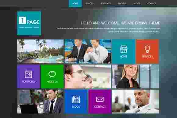 قالب زیبا تک صفحه ای شرکتی دروپال