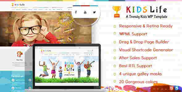 قالب سایت کودکان وردپرس RTL کیدس لایف