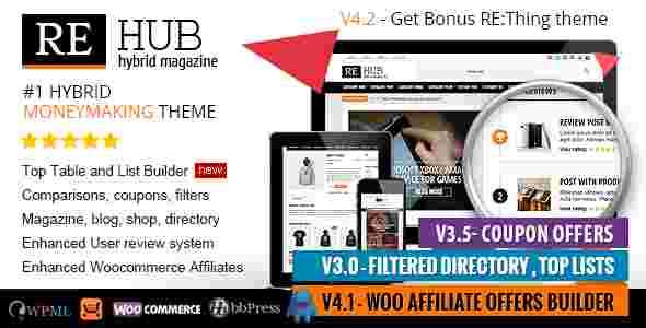 قالب مجله خبری وبلاگ نویسی همراه فروشگاه ری هاب وردپرس