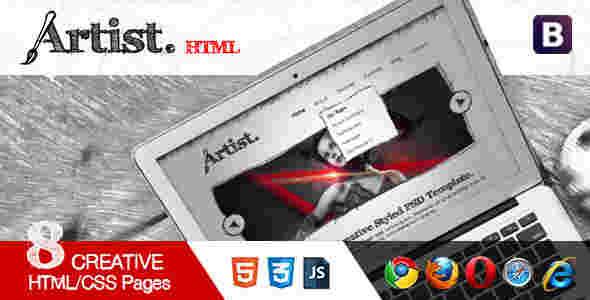 قالب گرافیکی سایت وبلاگ نویسی ارتیست html