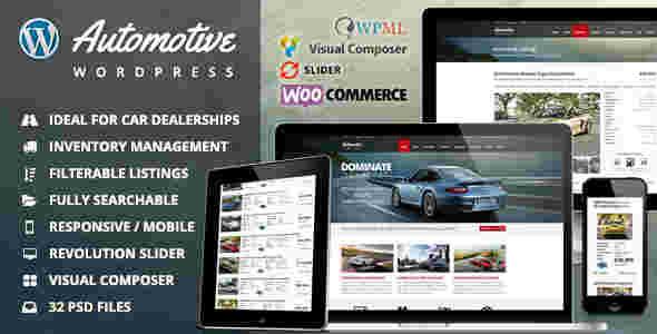 قالب مولتی شرکت خرید فروش ماشین اتوموتیو وردپرس