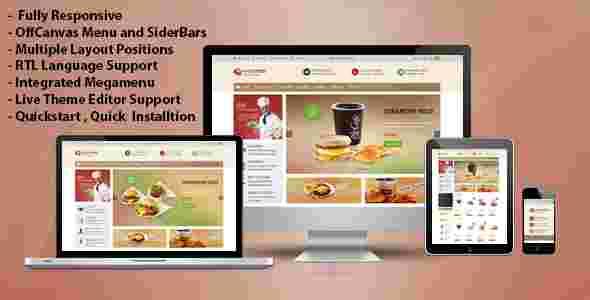 قالب سایت رستوران آنلاین اوپن کارت RTL پاو فود