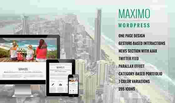 قالب تک صفحه ای همراه وبلاگ نویسی ماکسیمو وردپرس